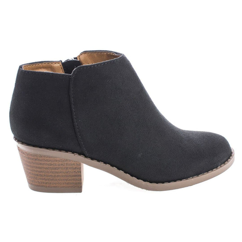 Black Suede / MugIIS Girls Simple Ankle Bootie - Children Kids Round Toe Block Heel Boots