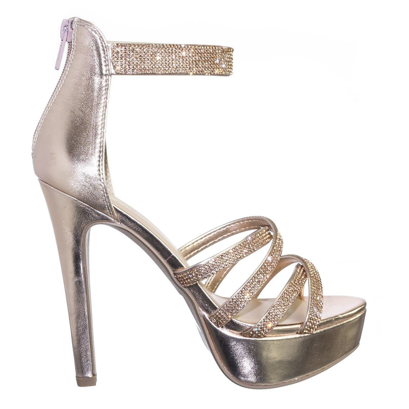 Mullen DkPenny Rhinestone Embellished Open Toe Platform Stiletto Party Dress Sandal