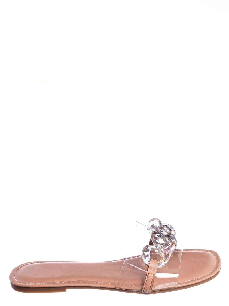 Irisdescent Clear / Laughter24 Oversized Chain On Lucite Vinyl Strap - Summer Slip On Slide Sandal