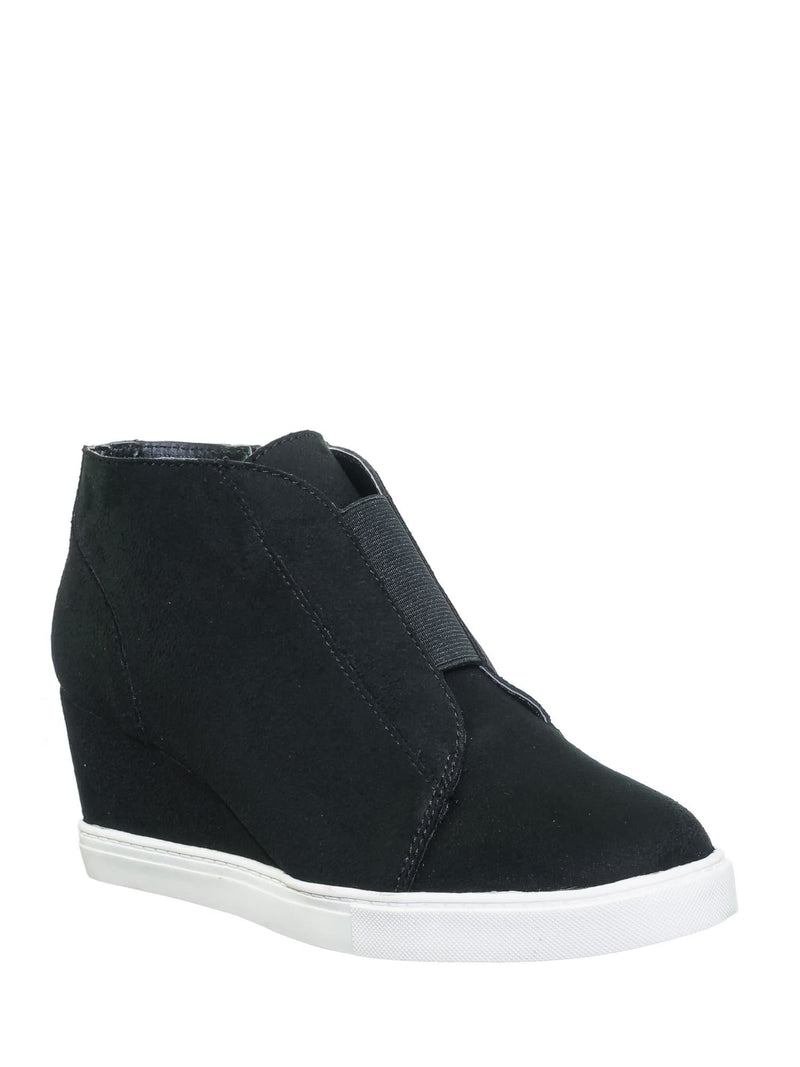 Black Isu / Vesper Black Isu Hidden Wedge Heel Sneakers - Women Sporty Elastic Shootie
