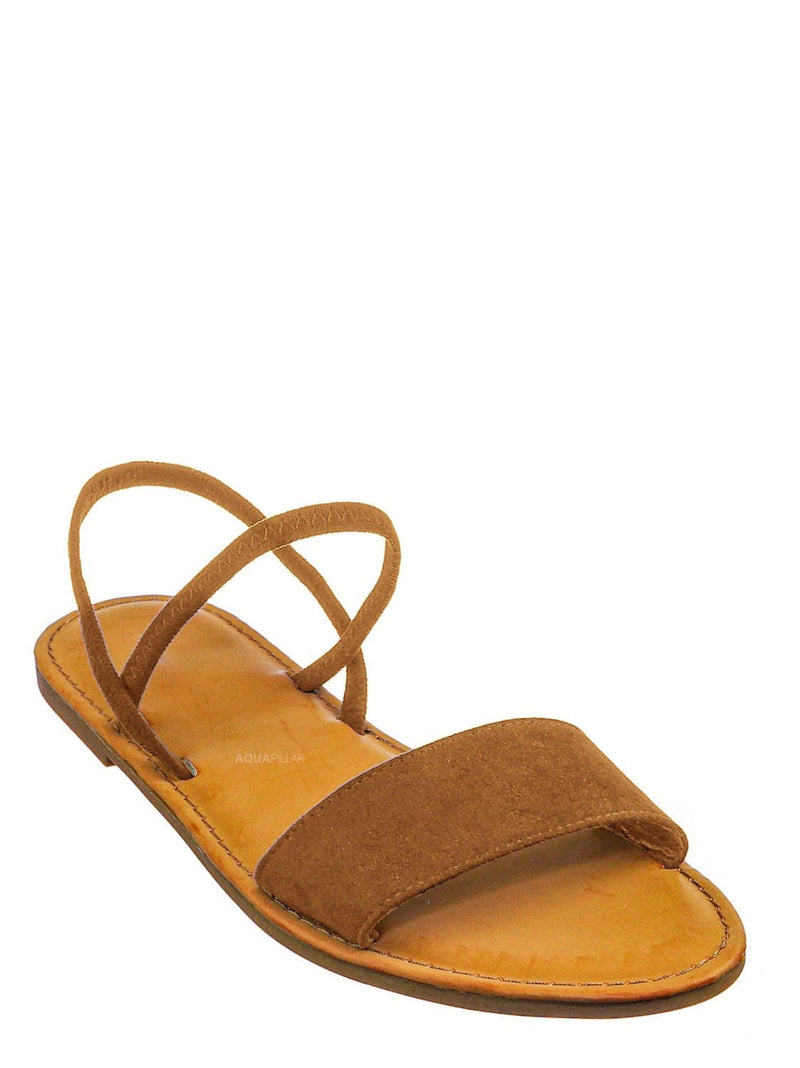 Tan Brown / Waterfront24 Summer Multi Strap Slingback Sandals - Womens Open Toe Elastic Shoe