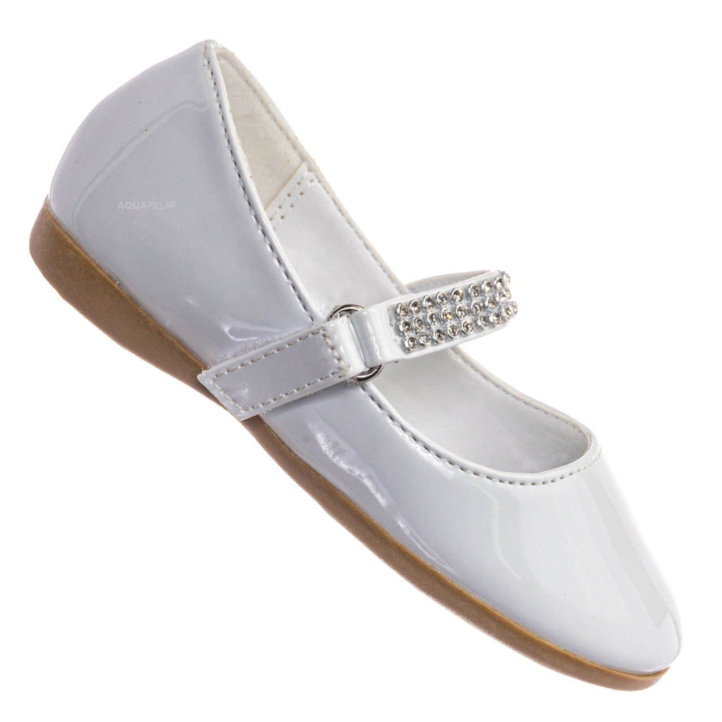 White Patent / Kelly767D Baby Girl Mary Jane Rhinestone Flats - Round Toe Ballerina Shoes