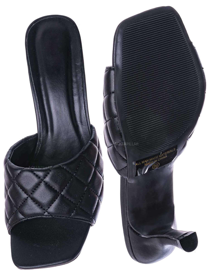 Black / Bora66 High Quilted Mule - Womens Slide In Diamon Puffy Slipper