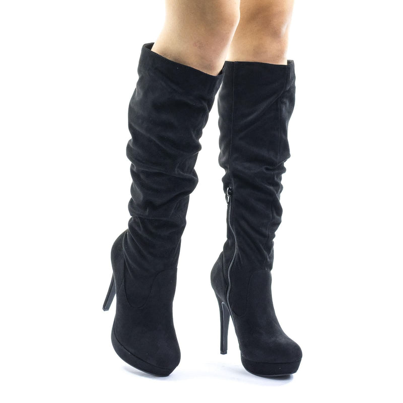 Black Pu / Partial Over Knee High Heel Slouch Boots, High Heel Platform Pump