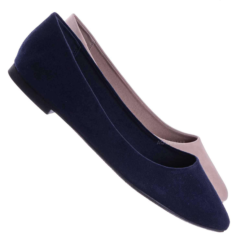 Navy Blue / Hold Pointed Toe Foam Padded Ballet Flat - Wide Width Women Comfort Loafers