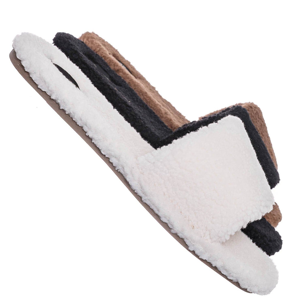 Ivory White / Upbeat38 Faux Shearling Lined Slides - Synthetic Fur Slip On Flat Sandal