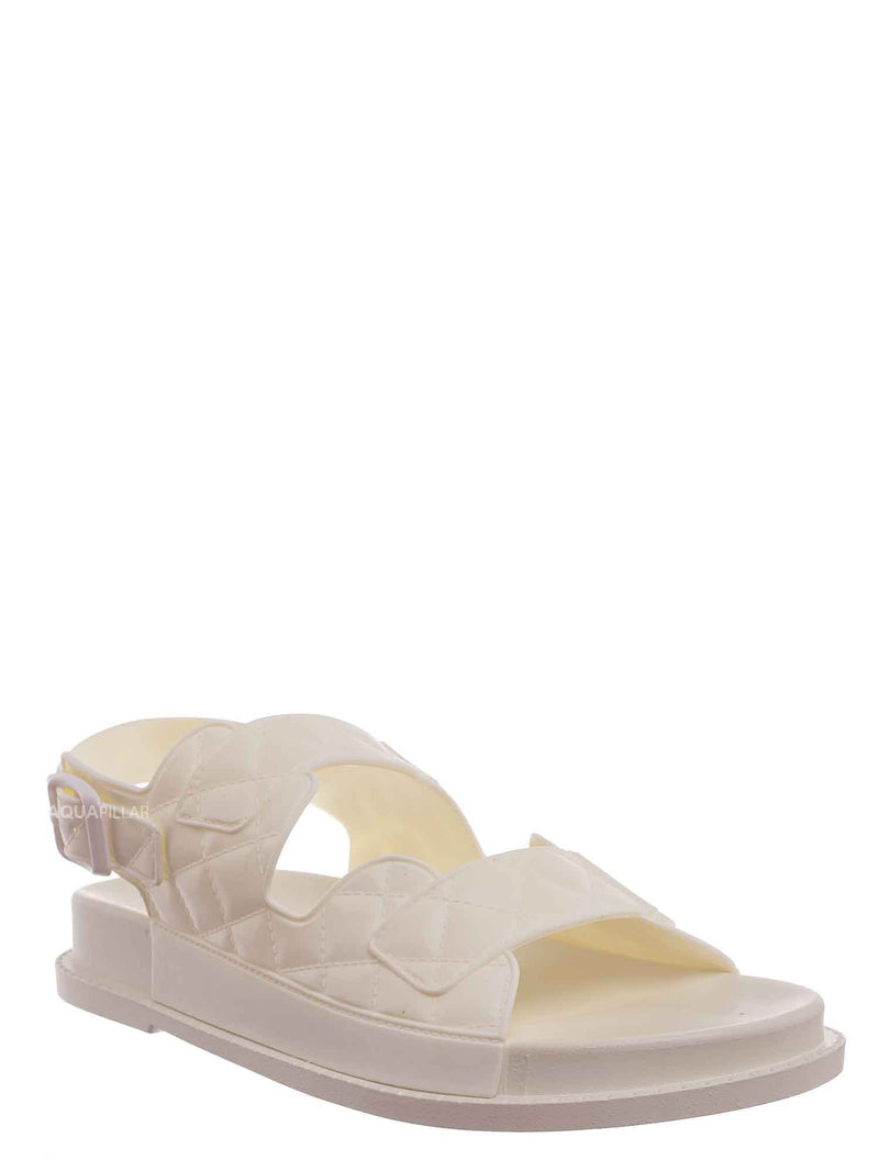White / Peach02 Molded Footbed Quilted Sandal - Womens Comfort Foam Jelly Padded Shoes