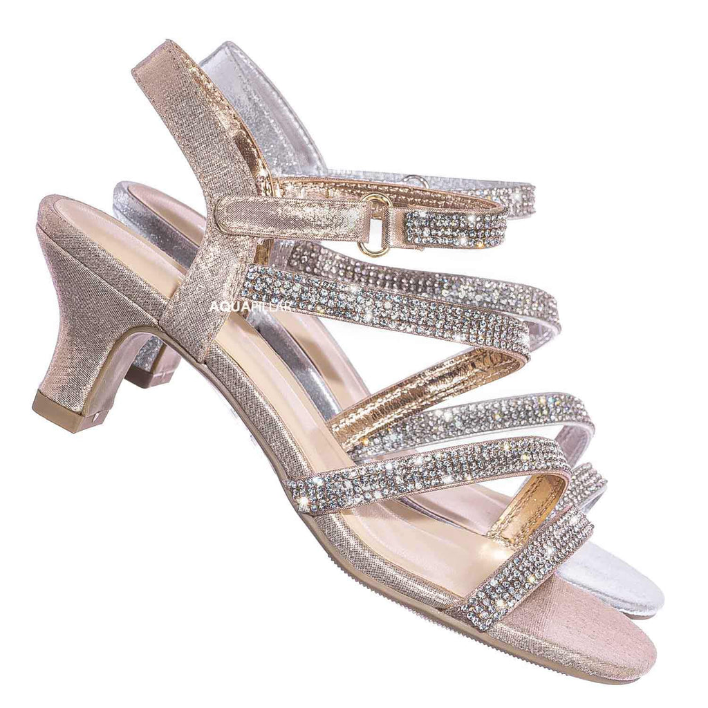 Rose Gold / Input2 Childrens Rhinestone Crystal Dress Sandal - Girl Shiny Glitter Party Shoe