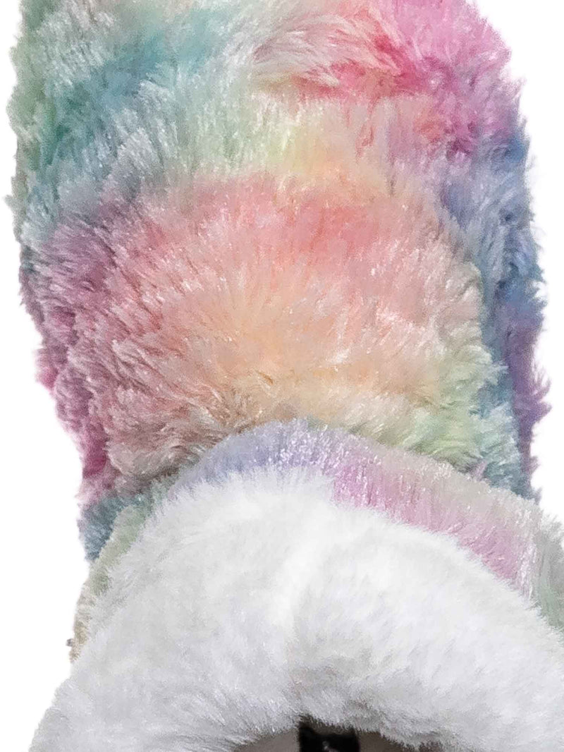9 Short Pink Fur / Alice Colorful Faux Fur Mukluks - Rainbow Winter Fluffy Slipper Boots