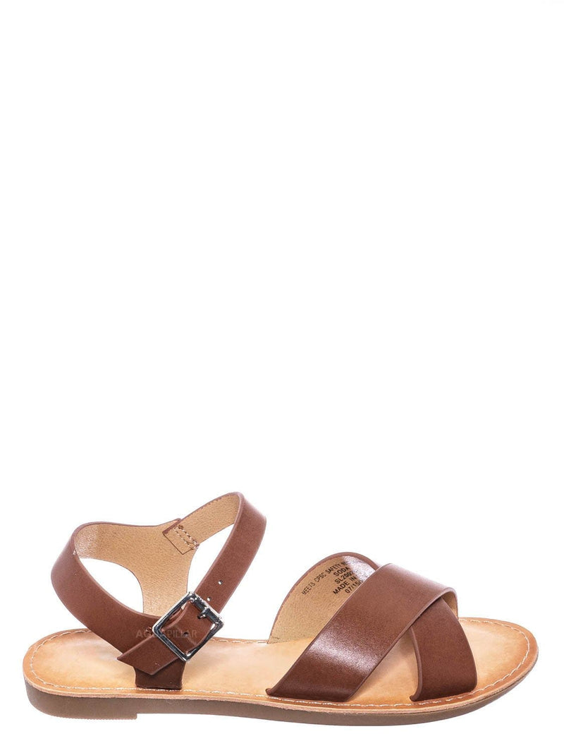 Tan Brown / Tire2 Children Girl Open Toe Flat Sandal w Ankle Strap