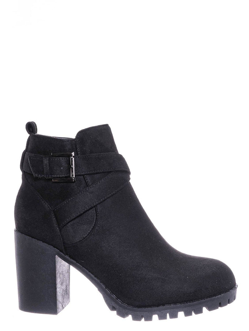 Black / Michi29 Wraparound Belted Ankle Bootie - Chunky High Heel Lug Sole Moto Boots