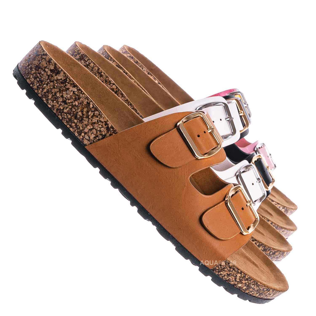 Tan Brown / Defeat57 Contoured Footbed Slide Sandal - Anatomical Molded Slipper Corks Shoes