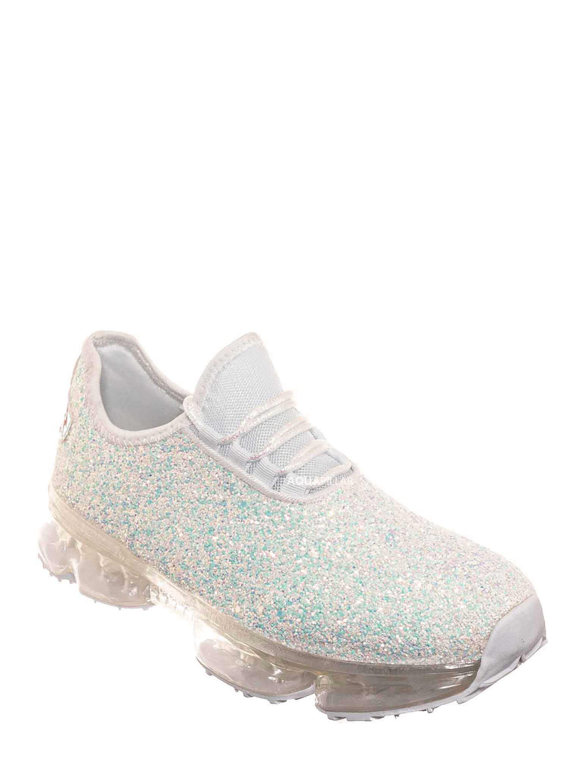 White / Flow28 Glitter Sneaker w Lucite Clear Outsole