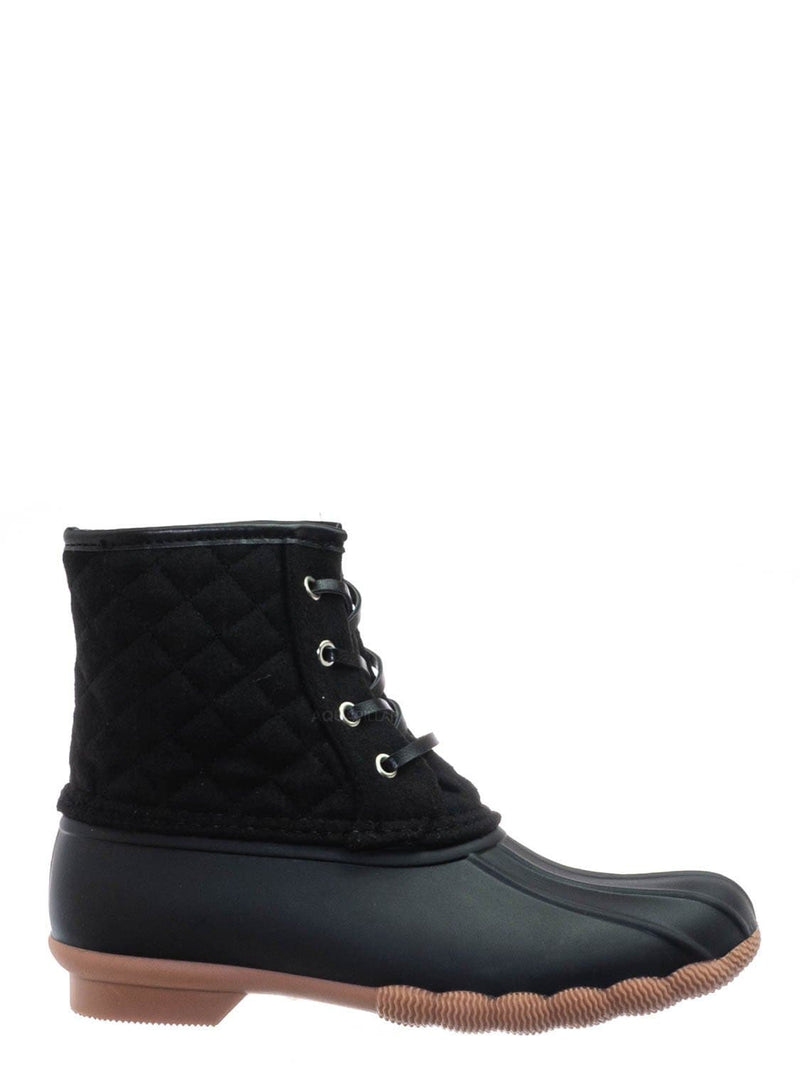 Black / Leo2 Waterproof Lace Up Boots - Quilted Felt Lining Ankle Height Bootie