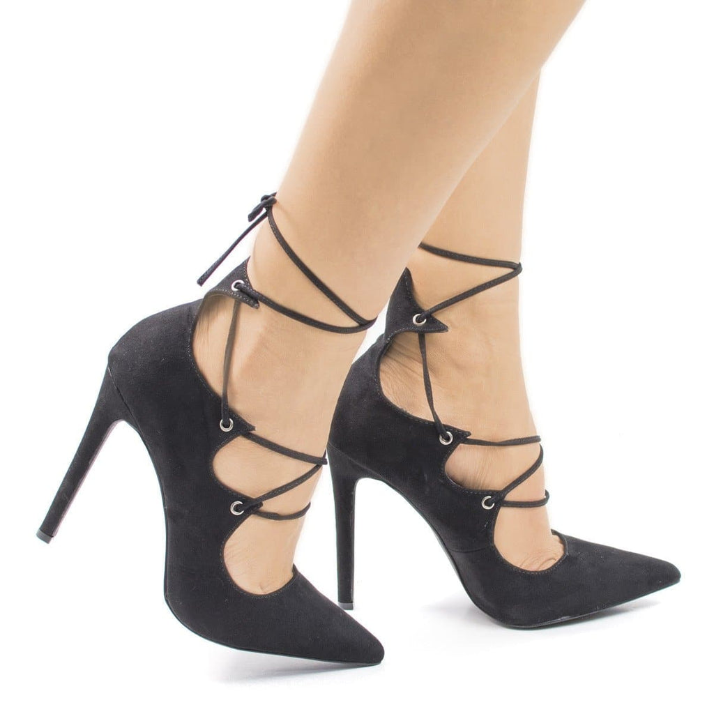 SammyOJ By Olivia Jaymes, Pointy Toe Corset Lace Leg Wrap Stiletto Heel Pumps