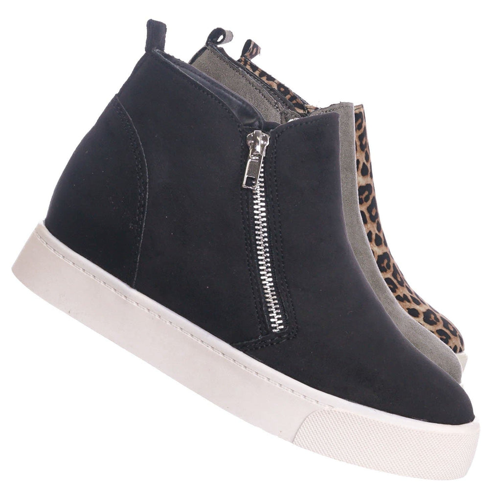 Black / Taylor High Top Hidden Wedge Sneaker  - Women Zipper Laceless Round Toe Shoe
