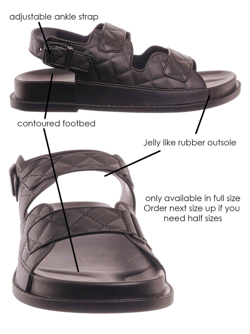 Black Jelly / Peach02 Molded Footbed Quilted Sandal - Womens Comfort Foam Jelly Padded Shoes