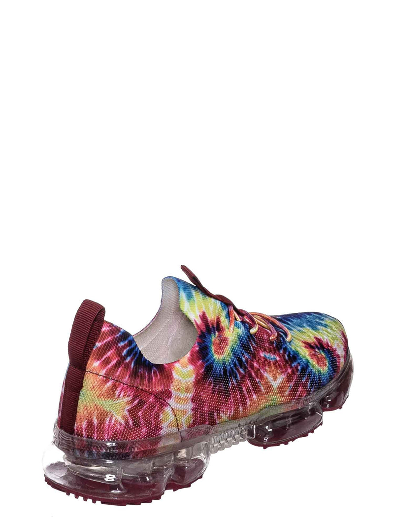 Red Tie Dye / Flow19 Stretch Elastic Mesh Sneaker - Festival Lace Up Rubber Air Bubble Cushion