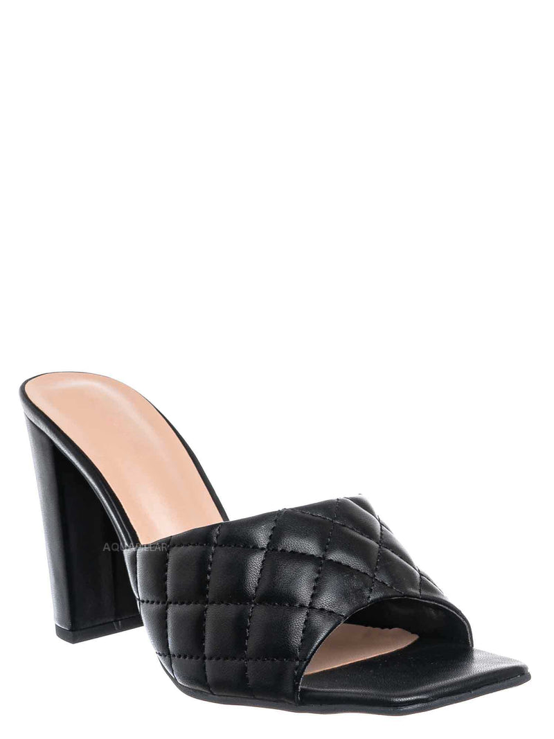 Black / Pita1 Quilted Block Heel Mule - Women's Slide In Open Square Toe Shoes