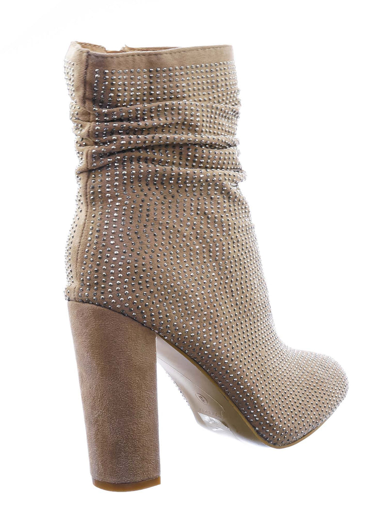 Taupe Beige / Diamond8 Rhinestone Crystal Ankle Bootie - Womens Party Chunky Block High Heel