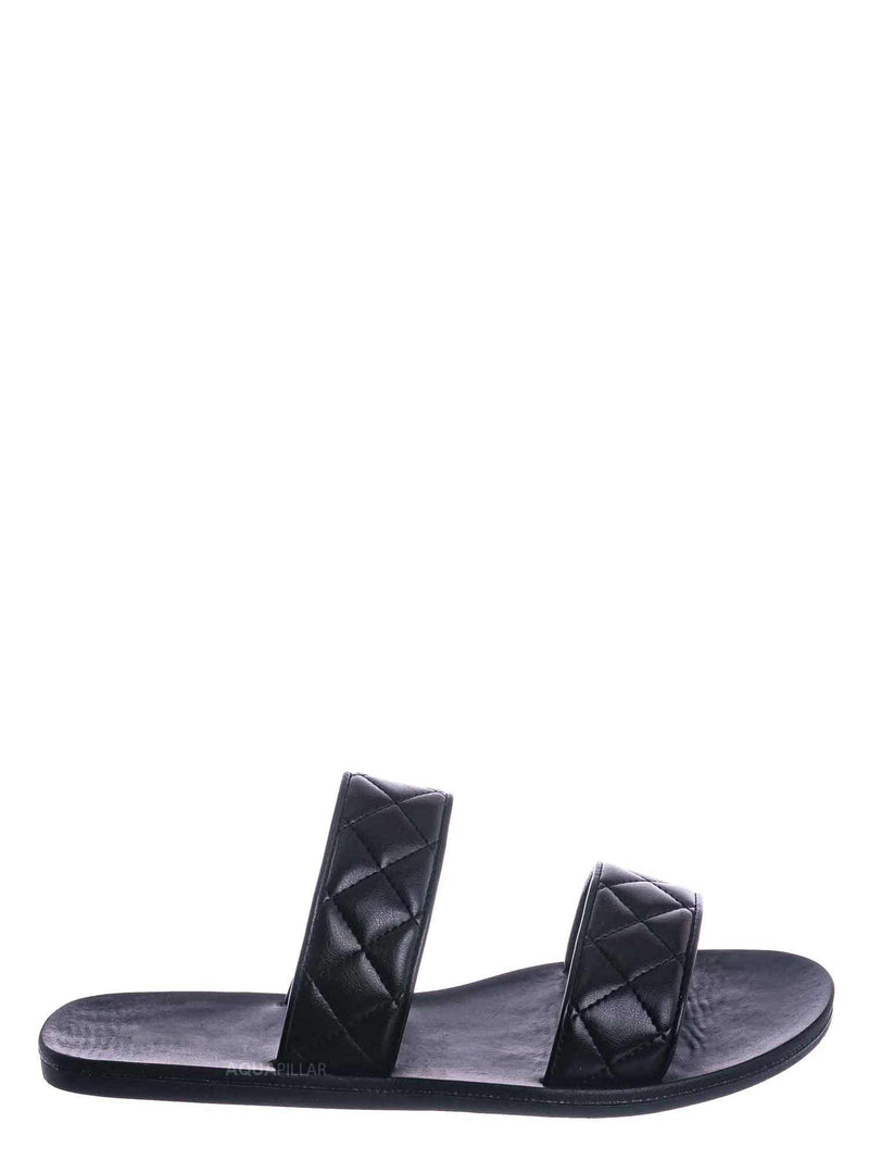 Black / Moonbeam65 Quilted Double Strap Slides - Summer Slip On Flat Slipper Sandal