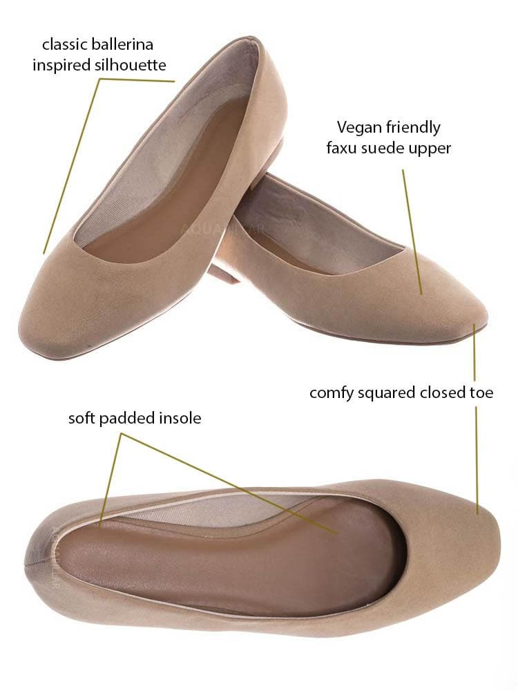 Nud Beige / Sweep01 Square Toe Ballet Flats - Womens Solid & Cheetah Ballerina Padded Shoes