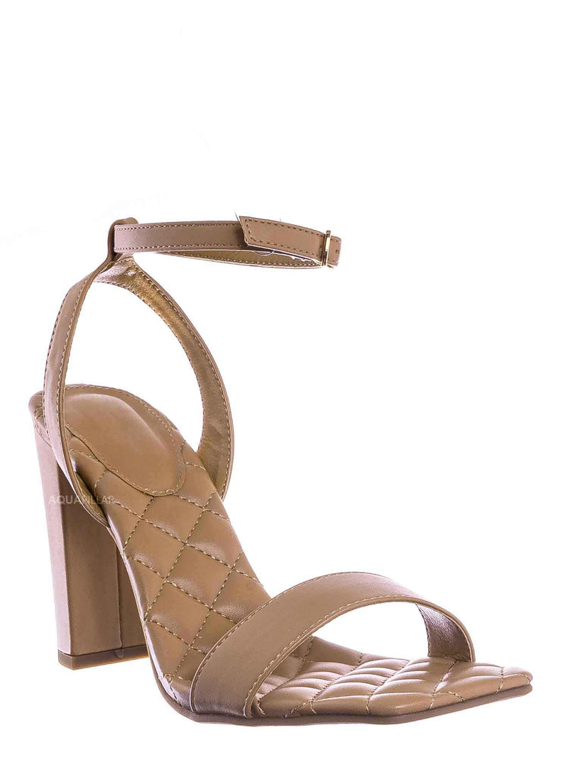 Camel Brown / Pita48 Matelassé Quilted Chunky Heel Sandal - Women Adjustable Ankle Strap Shoes