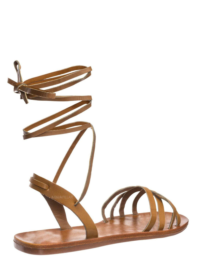 Tan Brown / Moondance30 Flat Leg Wrap Gladiator Sandal - Wraparound Lace Up Strappy Shoes