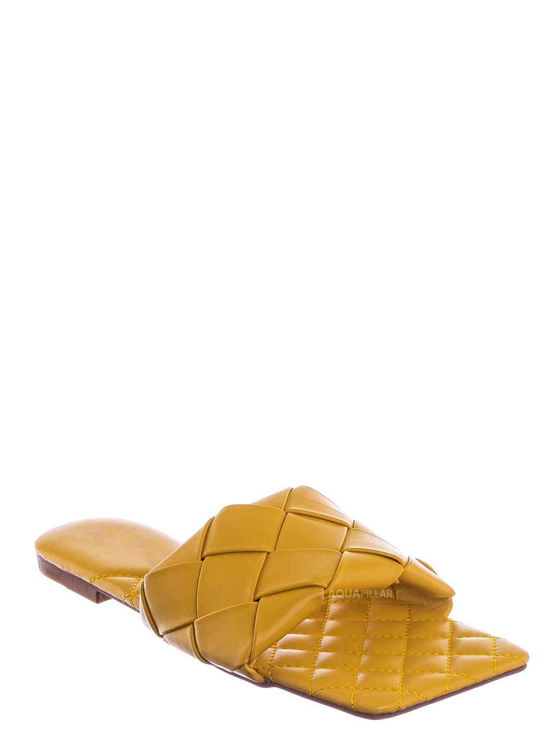Mustard Yellow / Padded18 Wide Woven Slide Sandal - Womens Elongated Open Square Toe Slipper Mule