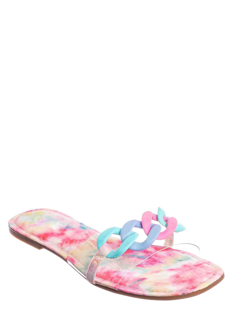 Multi Tie Dye / Laughter24 Oversized Chain On Lucite Vinyl Strap - Summer Slip On Slide Sandal