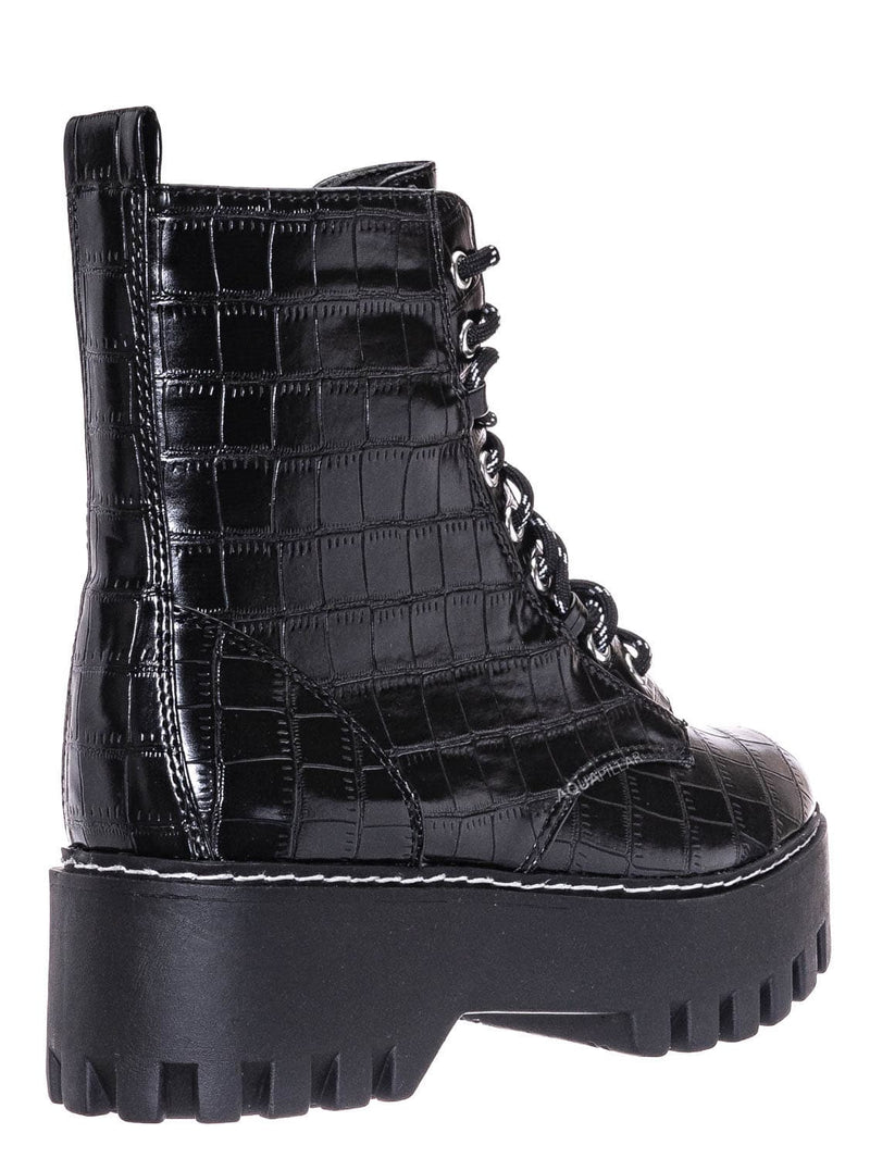 Black Croc Print / Staging01 Chunky Edgy Lug Sole Combat Boot- Army Military Threaded Rugged Bootie