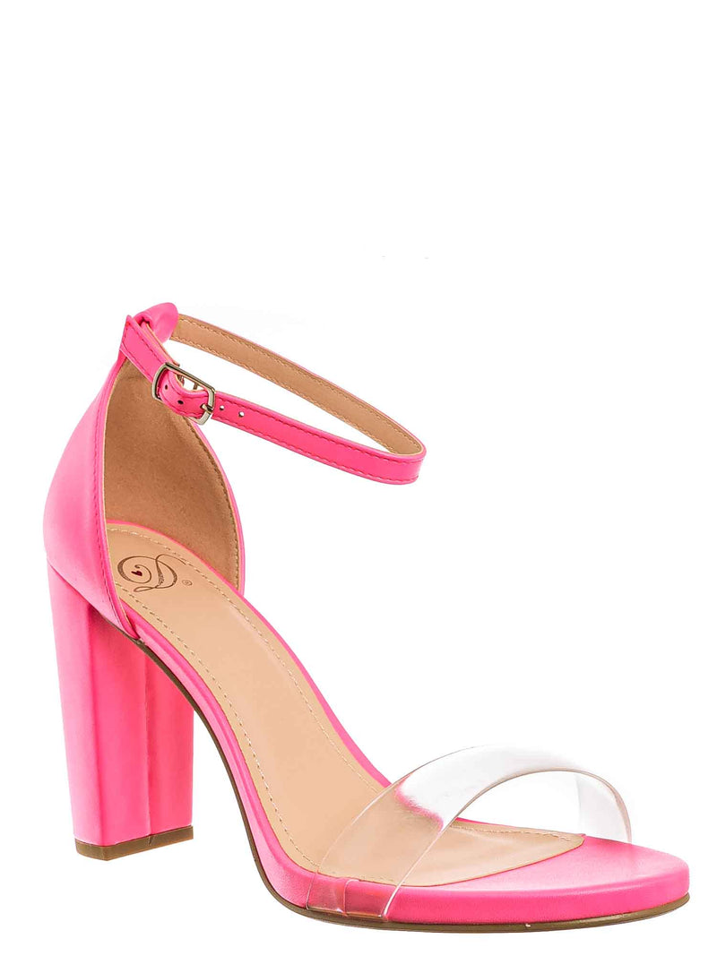 Pink Neon / Share Block Heel Lucite Sandal - Women Chunky Open Toe w Transparent Strap