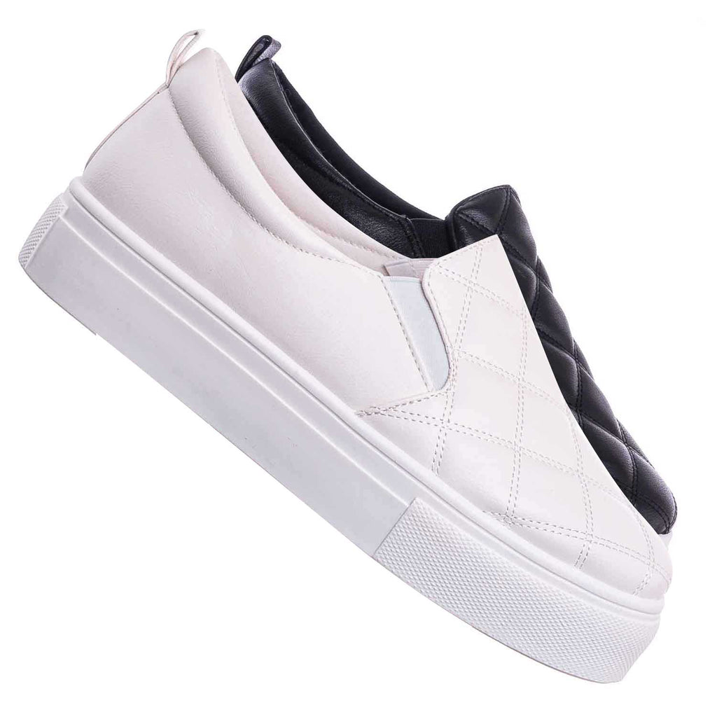 White / Story02 Flatform Quilted Sneaker -Women Matelassé Slip On Sporty Platform Loafer