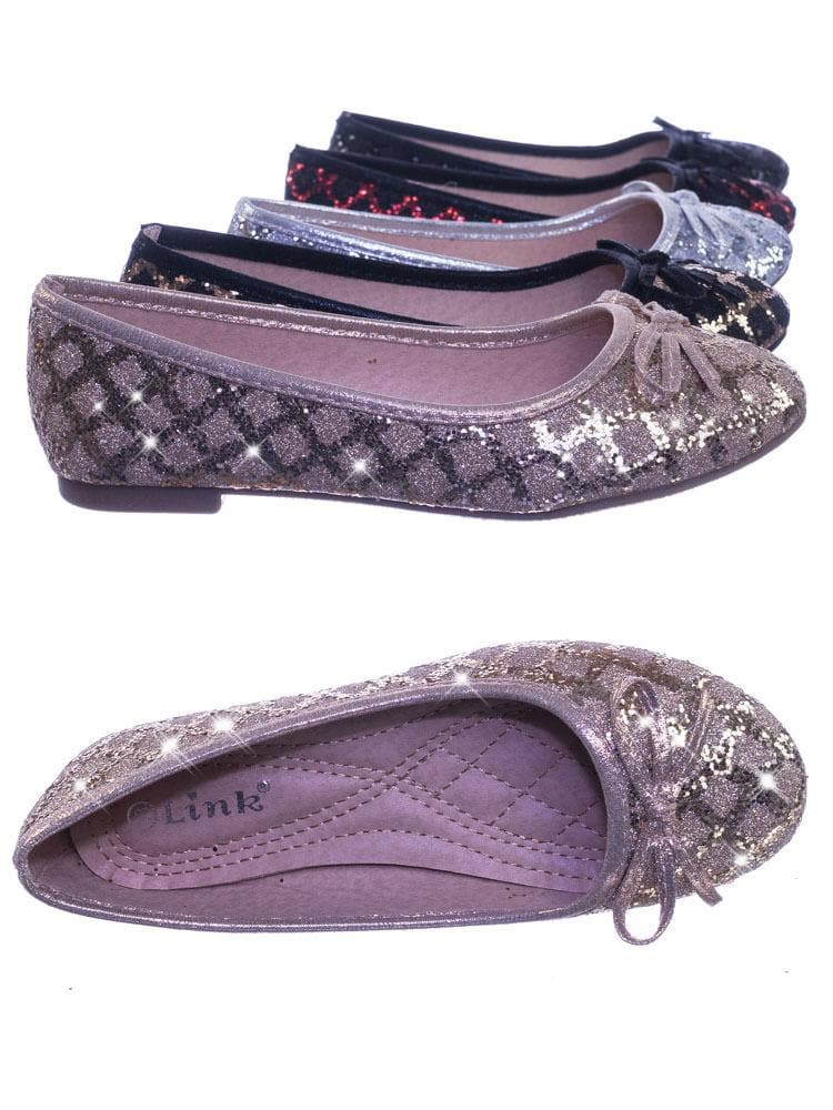 Karra46 Champagne Gold Children Girls Fancy Round Toe Ballet Flat w Criss Cross Glitter