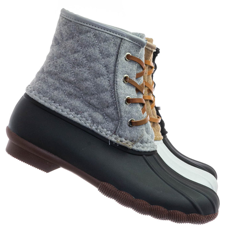 Leo2 Waterproof Lace Up Boots - Quilted Felt Lining Ankle Height Bootie