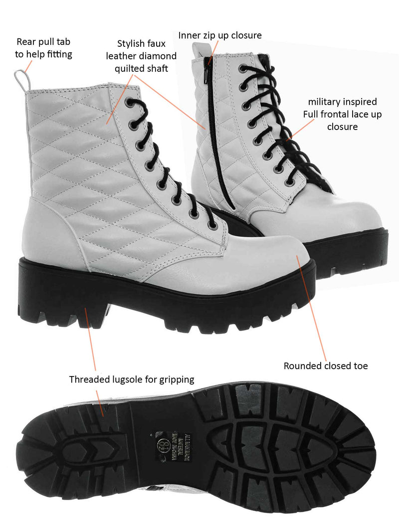 Off White / Dawson Diamond Quilted Block Heel Combat Boots