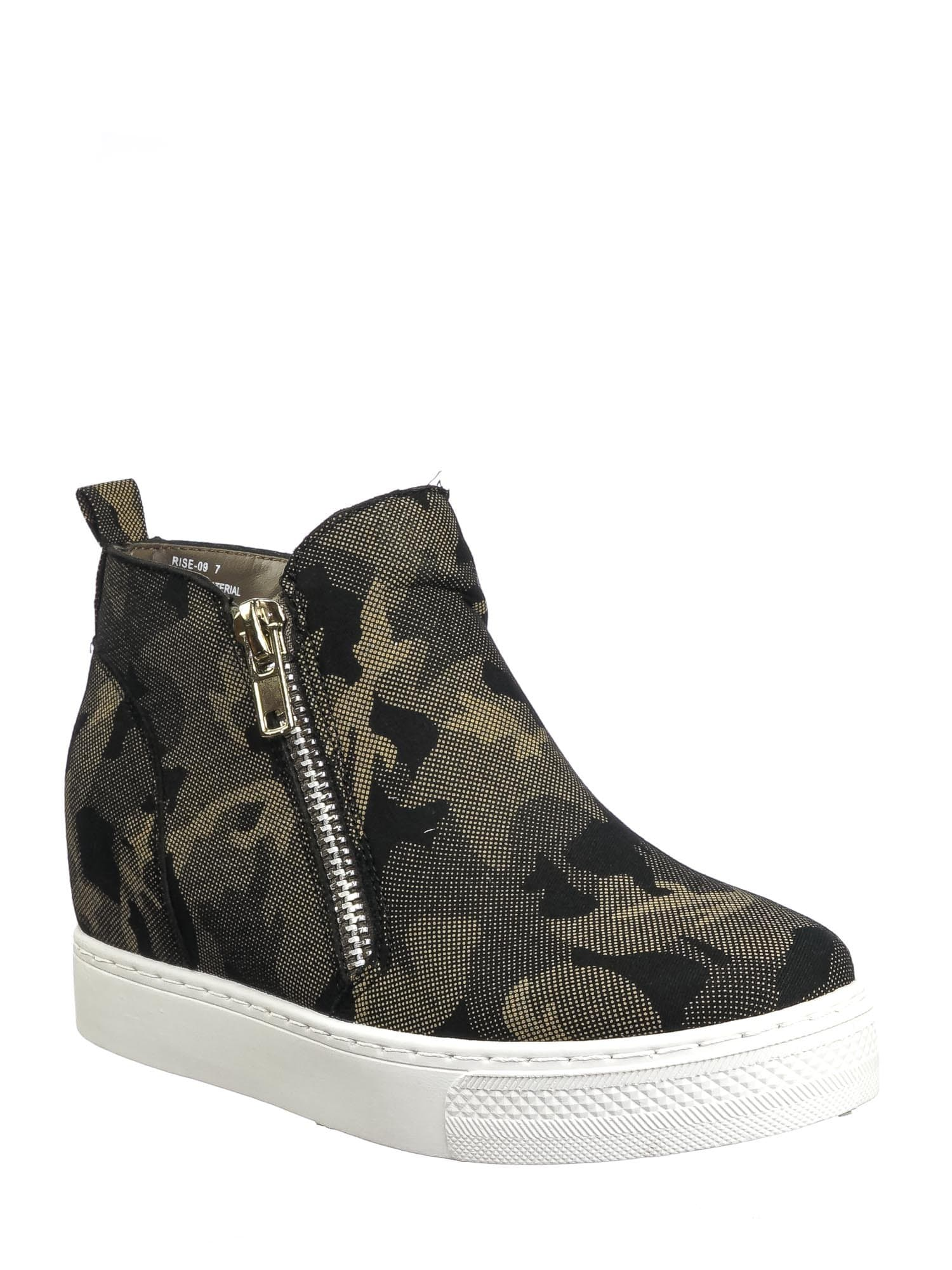 Rise09 Gray Camouflage Zipper Platform Sneaker - Women Animal Print Fashion Athletic Shoes