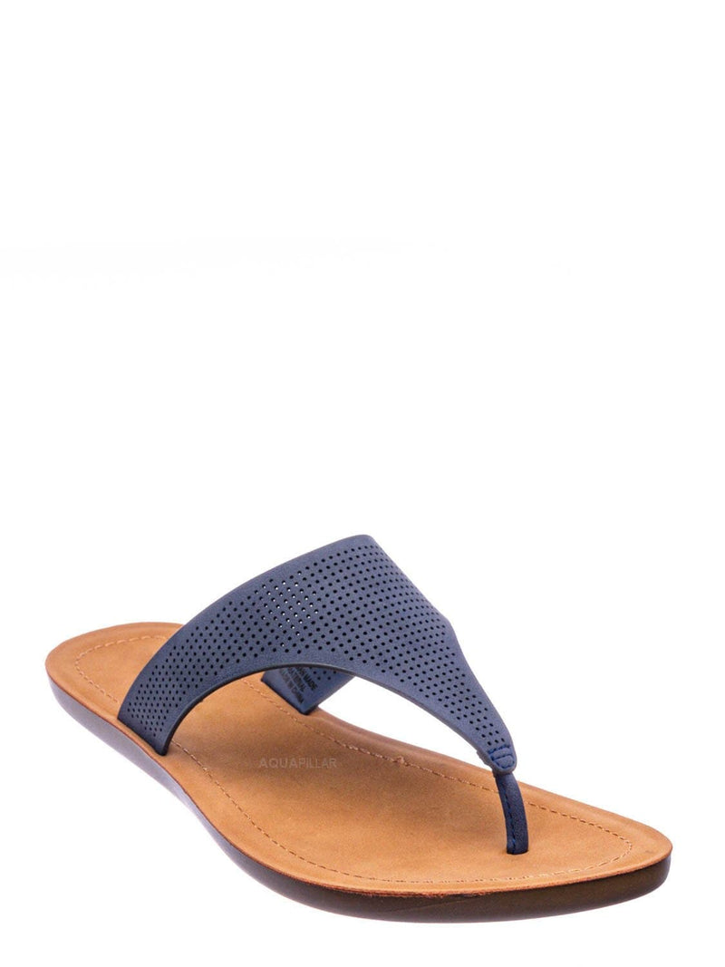 Navy Blue / Mikayla Perforated Footbed Thong Sandals - Womens Light Weight Yoga Slides