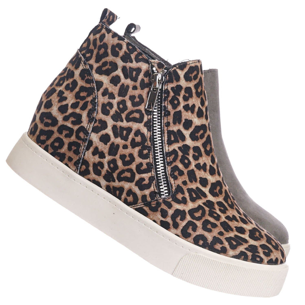 Oatmeal Cheetah / Taylor High Top Hidden Wedge Sneaker  - Women Zipper Laceless Round Toe Shoe