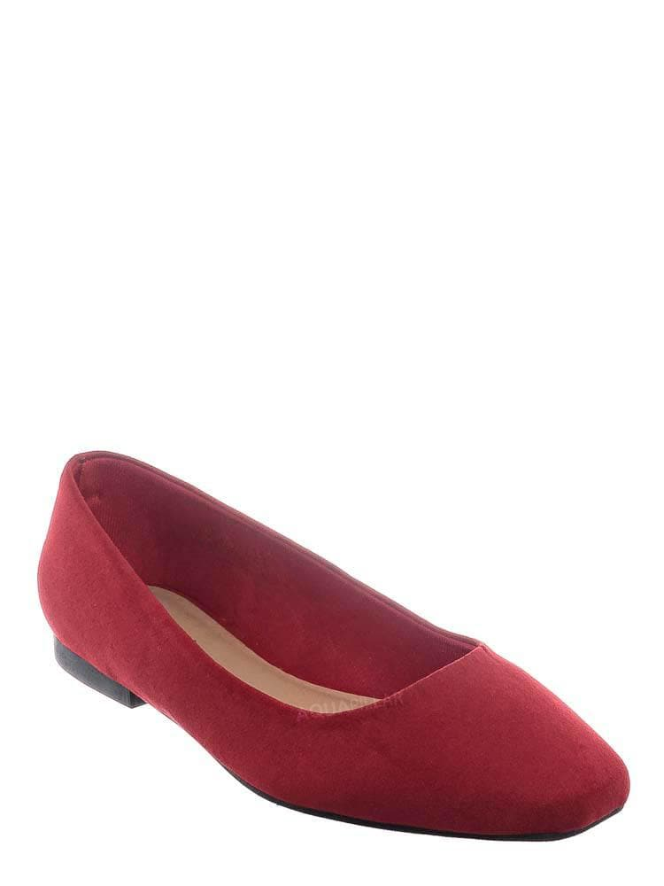 Red Faux Suede / Sweep01 Square Toe Ballet Flats - Womens Solid & Cheetah Ballerina Padded Shoes