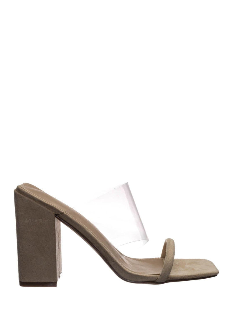 Nude Beige / Loria02 Lucite Clear Square Toe Mules - Transparent Chunky Block Heel Sandal