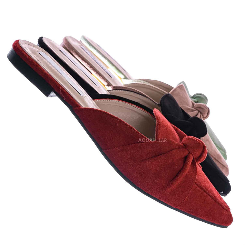 Mules11 Knotted Pointed Toe Slides - Women's Slide In Close Toe Slipper