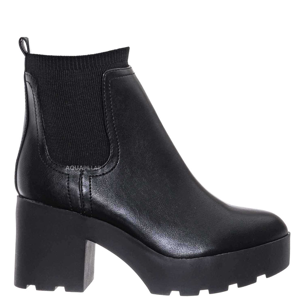 Black / Vista01 Chelsea Ankle Bootie w Elastic Collar - Chunky Block Heel Threaded Sole