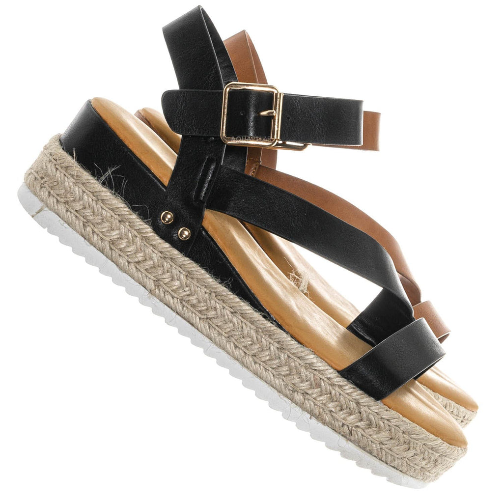 Tan Brown / Leading03 Gladiator Strappy Espadrille Flatform - Platform Wedge Open Toe Sandal