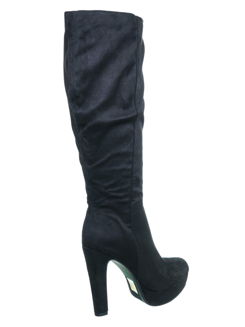 Rhythm Black Isu Knee High Dress Boots - Women Thick High Over Knee Heel Platform