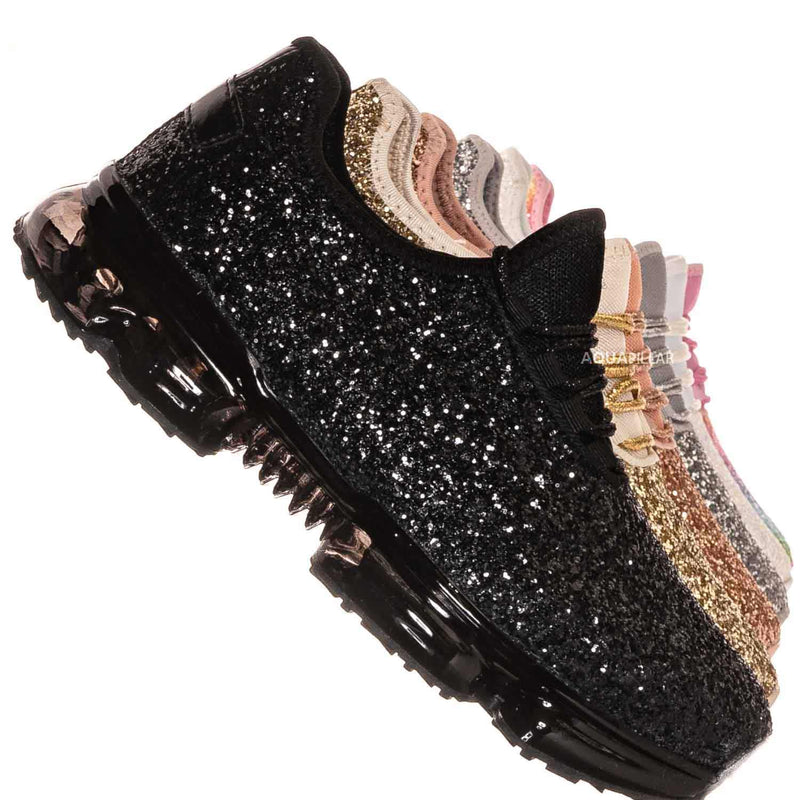 Black / Flow28 Glitter Sneaker w Lucite Clear Outsole