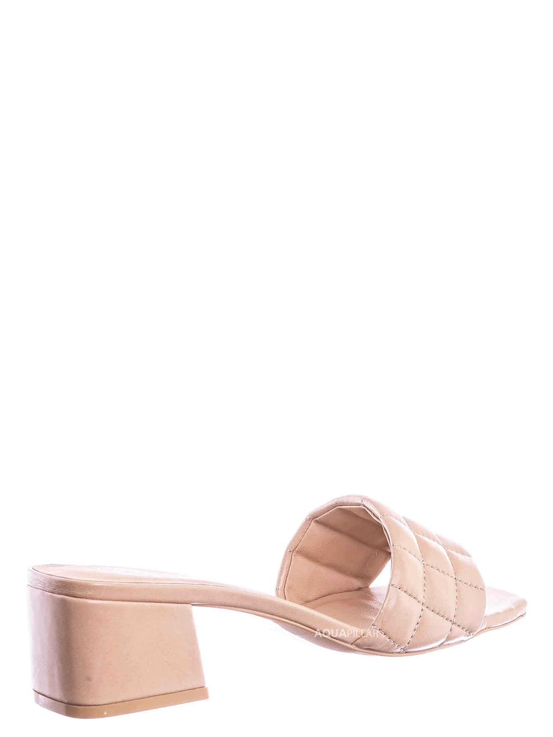 Nud Beige / Byway Puffy Quilted Block Heel Mule - Women's Open Squared Toe Retro Slides