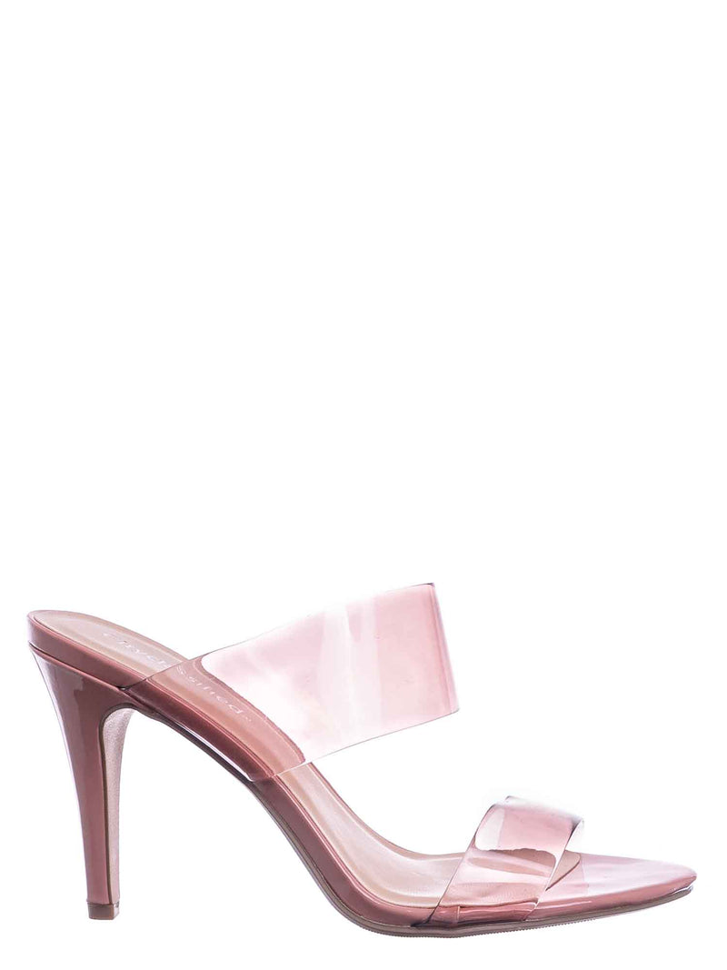 Rose Pink / Lisa Clear Lucite Glass High Heel Slipper - Women Vinyl Slip On Mule Sandal