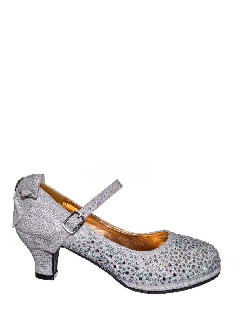 Off White / Tasha004E Girl Rhinestone Crystal Mary Jane Pump - Kids Block Heel Dress Shoes
