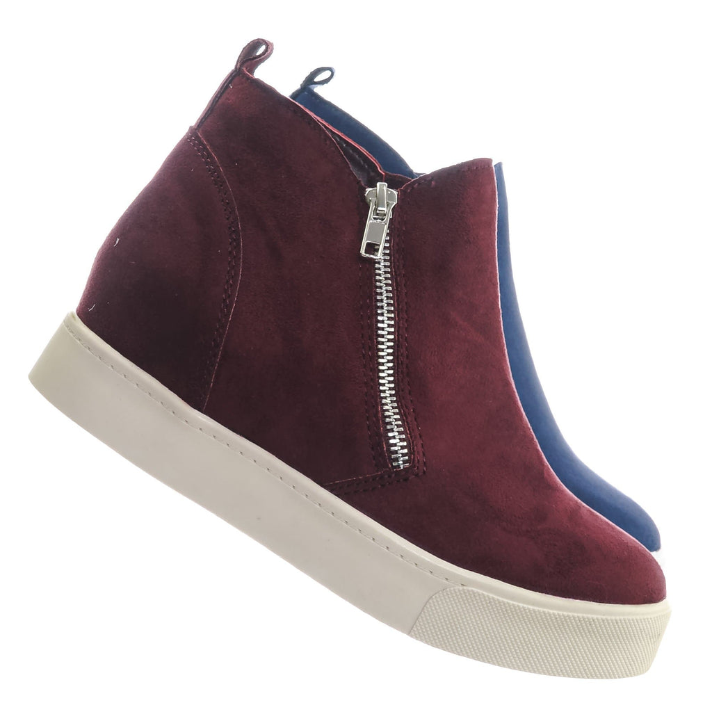 Vino Red / Taylor High Top Hidden Wedge Sneaker  - Women Zipper Laceless Round Toe Shoe